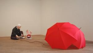 Alex Podesta, Jumper, 2013. Mixed media.(130in x 32in x 46in as installed).