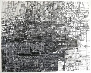 Josette Urso, Bushwick Rain Snow Rain, 2009, ink on paper, 16 x 20 inches.