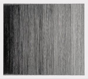 """Anne Lindberg, Thread drawing 21, 34"""" x 28"""", Rayon thread, 2013. Courtesy of Pentimenti"""