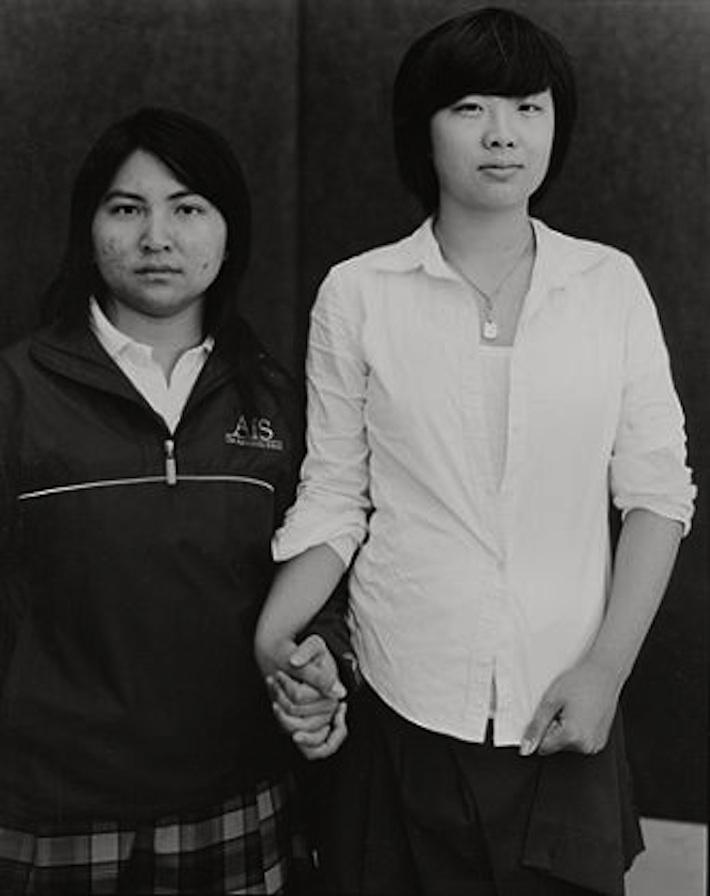 "Andrea Modica, Best Friends, The Agnes Irwin School, Philadelphia, PA, 2010/2011, platinum/palladium contact print, 10x8"". Image courtesy of the gallery website"