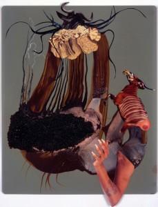 Wangechi Mutu 'Drowning Nymph 3' (2007) mixed media on paper,14x17in, private collection,© Wangechi Mutu