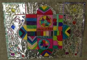 Myka Ollison 2002- Garden Medallion, 2013 Bristol board, Prismacolors, tooling foil, sharpees
