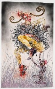 Wangechi Mutu 'One Hundred Lavish Months of Bushwack' (2004) mixed media on paper, 68.5x42 in., MoMA, © Wangechi Mutu