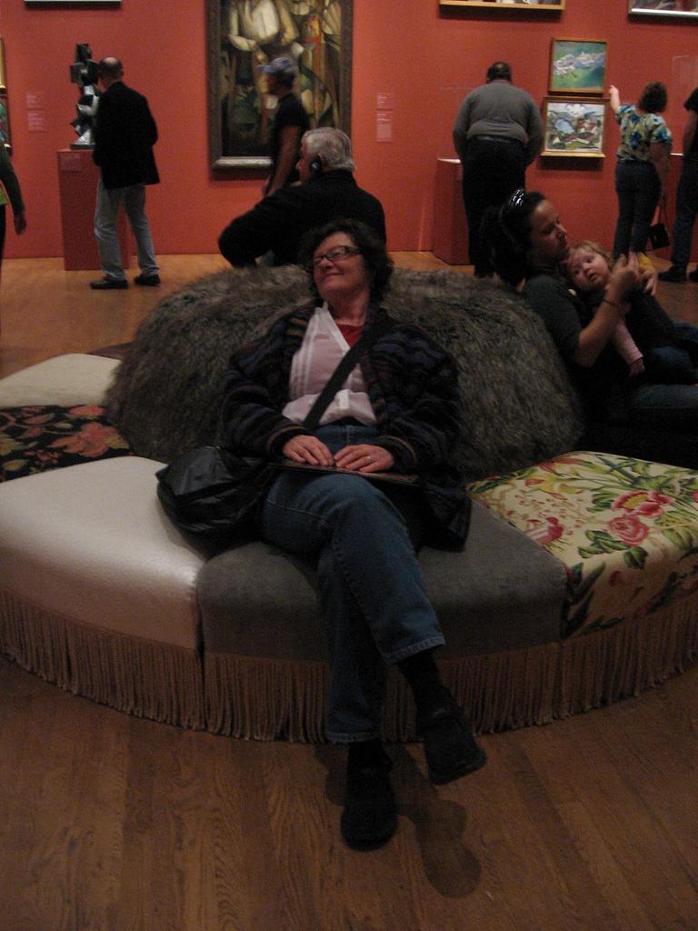 "Roberta lounges on Virgil Marti's ""pouf"""