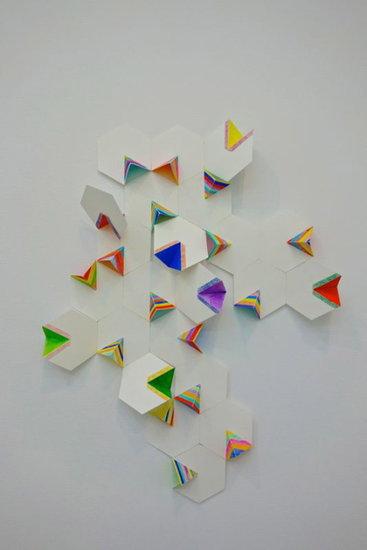 Alex Paik, Open Hexagon 1 (2014). Gouache, colored pencil, paper, 26 x 21 x 3.5 inches.