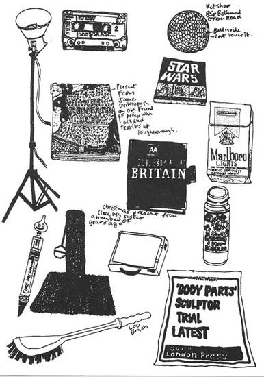 Michael Landy drawing for 'Breakdown' (2002) photo: Artangel