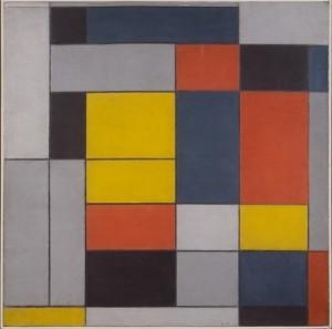 "Piet Mondrian No. VI / Composition No. II oc, 39 3/16"" x 39 3/8"", Tate"