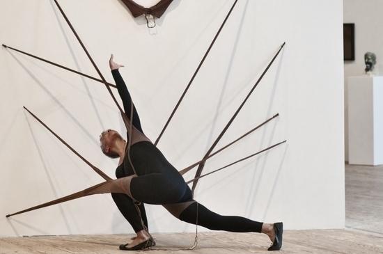 Maren Hassenger performing Senga Nengudi's 'RSVP' at the Contemporary Arts Museum, Houston, Nov. 17, 2012