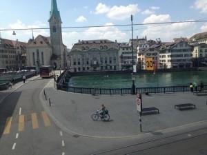 Overlooking the Rathaus Bridge, Zurich, Switzerland