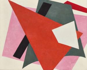 Liubov' Popova 'Painterly architetonic' (1917) oil on canvas, 31 ½ x 38 5/8in. MoMA