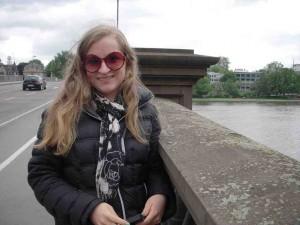 Stella on the bridge over the Main river, Frankfurt, Germany