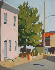 """Allison Syvertsen, """"Pink Bleak House."""" Gouache on panel, 10"""" x 8""""."""
