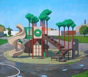 "Allison Syvertsen, ""Playground I (Island."" Gouache on panel, 14"" x 16""."