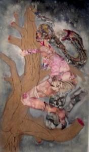 "Wangechi Mutu, Three Huggers, 2010, mixed media, ink, paint, collage on mylar, 92 1/2"" x 54"""