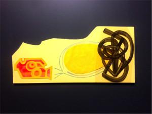 Rebecca Tennenbaum, Untitled, latex paint, mylar, Bristol board, paper, crayon, and marker on panel.